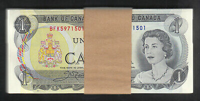 1973 Bank Of Canada 1 Dollar Bank Notes Bundle Of 100 Crow-Bouey