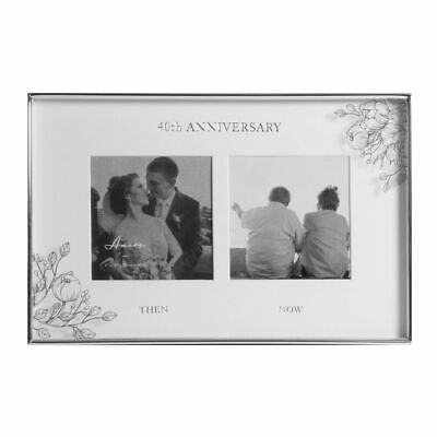 Silver Floral Double Then + Now 40th Ruby Anniversary Photo Picture Frame Gift