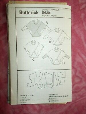 Butterick Pullover Wrap  Sewing Pattern Sizes Xs-M- (6291) - New