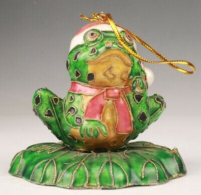 Collection Chinese Rare Cloisonne Statue Pendant Old Handmade Frog Mascot Gift