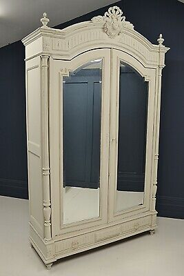 Large Antique Shaded White Knock-Down French Henri II Style Mirrored Armoire