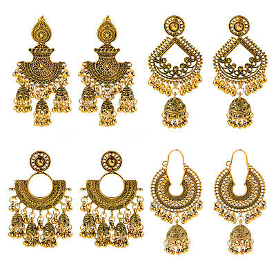 4 Pairs Gold Plated Earrings Jhumka Drop Dangle Bollywood Women Stud Earrings