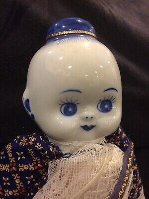 Vintage Japanese Porcelain & Cloth Doll in Traditional Outfit. Hand Painted.