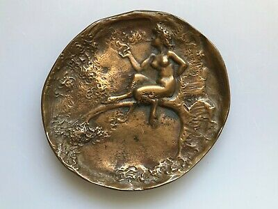 Antique Joe Descomps Small Footed Bronze Plate Tray Nude Nymph Sitting On Tree