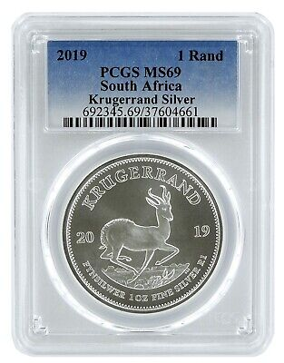 2019 South Africa 1oz Silver Krugerrand PCGS MS69 - Blue Label