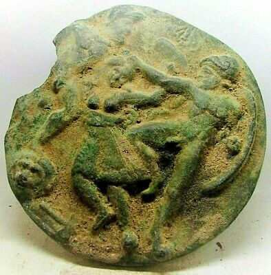 Very Rare Ancient Scythia  Bronze Plaque Still Uncleaned Showing Battle Scene