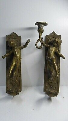Antique Brass Curtain Ties Handles Pair Candle Wall Sconces Cupid Angel Statues