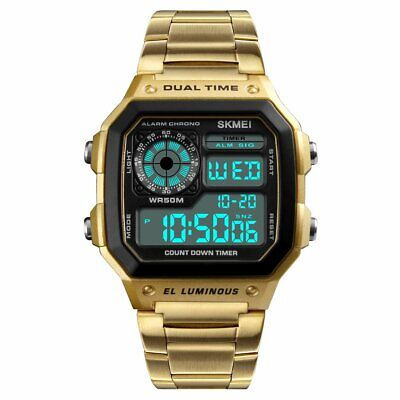 Men's Multi-Function Stainless Steel Quartz Digital Watch-Gold