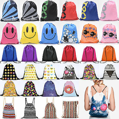Waterproof Drawstring Backpack Mens Womens Kid Gift Bag Gym PE Swim Nursery Pack