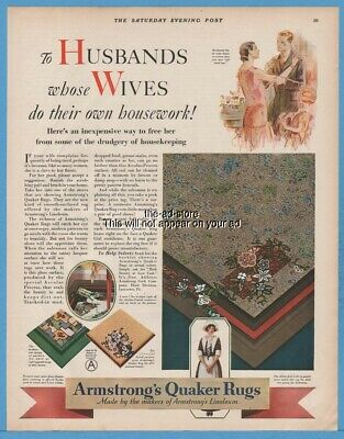1928 Armstrong Quaker Rug To Husband whose Wives do their own Housework Ad