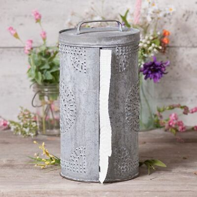 Primitive new Punched Tin Paper Towel Dispenser in Weathered Zinc finish