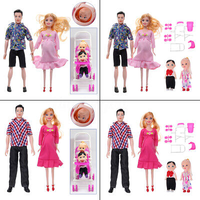5 People Doll Family Educational Real Pregnant Doll for Barbie Gift Pink Red