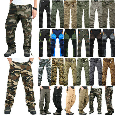 AU Men's Cargo Combat Trousers Army Military Camo Pockets Casual Work Long Pants