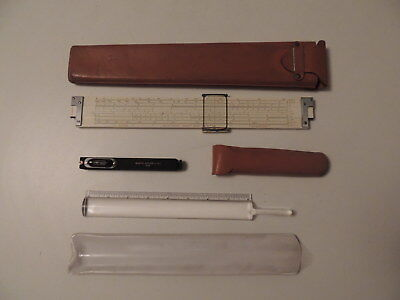 Lot Vintage KE Leroy Keuffel & Esser Drafting Tools Slide Rule & Surveyor Scope