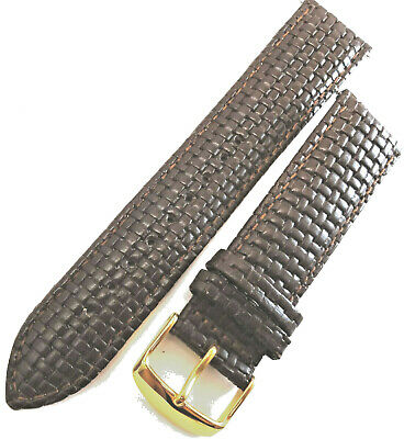 New Mens Brown Padded Leather Woven Braided 22mm Watch Band Gold Tone Buckle
