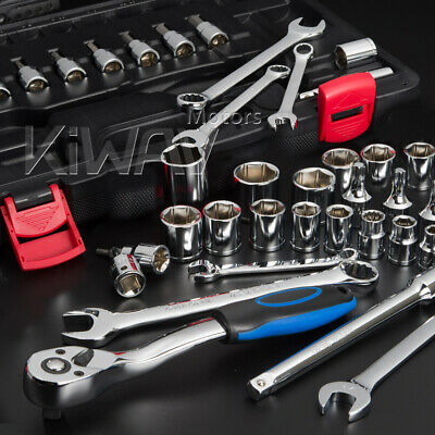 "KiWAV 40pcs SAE 3/8"" drive wrench ratchet bits socket repair tool set for Harley"