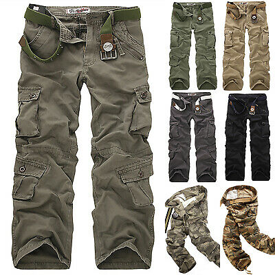 Mens Military Combat Trousers Cargo Camo Army Casual Work Multi Pockets Pants