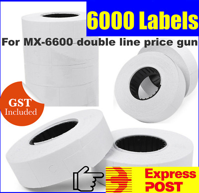 15 White Price Gun Tags Labels Stickers Rolls For Double Line Price Gun Mx6600