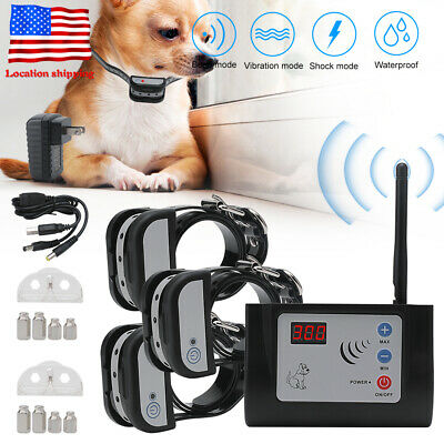 New 2 in1 Wireless Electronic Fence Pet Containment System Waterproof For 2 Dogs