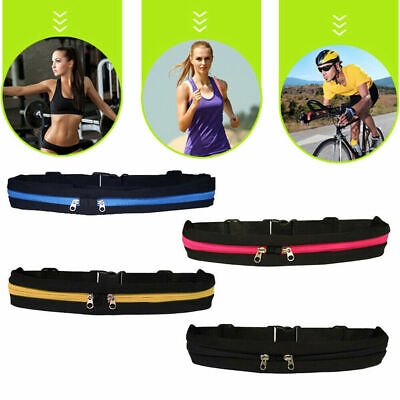 Dual Pocket Runner Running Waist Belt Bag Pack Pouch Bum Sports Jogging Gym Yoga