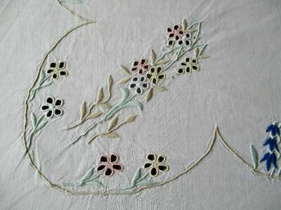 "ANTIQUE MADEIRA TABLECLOTH-HAND EMBROIDERED PASTELS-33""sq.LINEN"