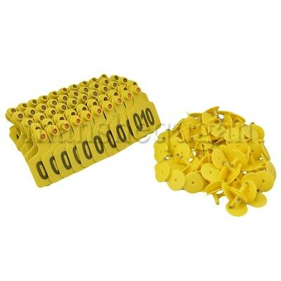 100pcs Plastic Yellow Livestock Ear Tag w/ Numbers L60xW74mm for Cow Cattle