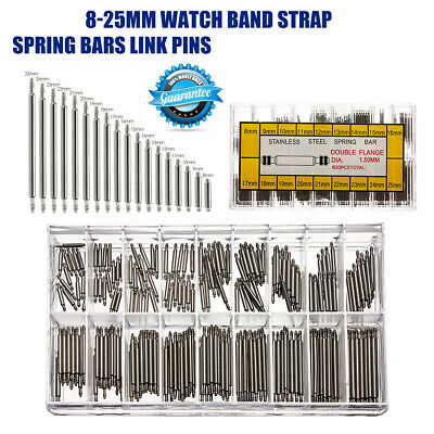 270 Pcs Assorted Stainless Steel Watch Band Spring Bars Strap Link Pins 8mm-25mm