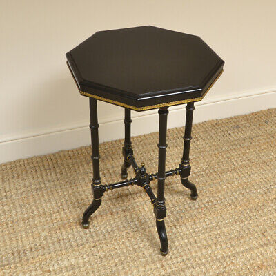 Victorian Arts & Crafts Ebonized Occasional Lamp Table