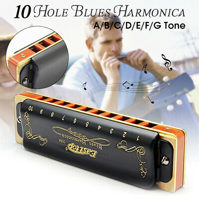 Blues Harmonica A-G Key Easttop T008K 10 Hole Portable Professional For