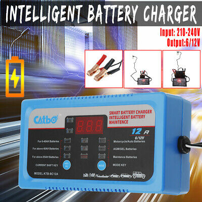 6V/12V Car Battery Charger 12A Automatic Intelligent Trickle Fast Charging