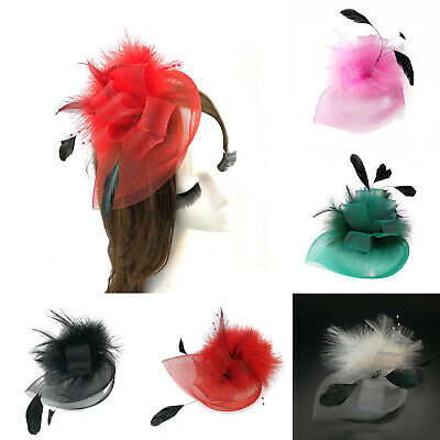 Women Fascinator Hat Flower Veil Party Wedding Ascot Races Clip Brooch Black