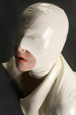 Latex Hood Rubber Gummi White Open Big Mouth Masks No Zip Pull On Customize .4mm