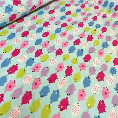 Sale 100% Cotton Poplin Fabric by John Louden Happy Pigs Heart Stripes