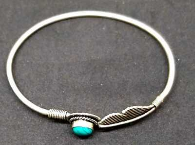 Handcrafted Turquoise Studded German Silver Bracelet Bangle Cuff Jewelry Gift