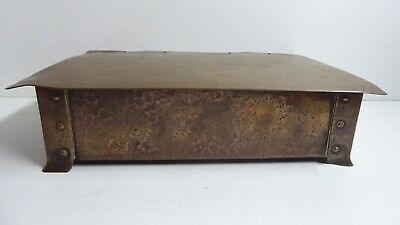 Arts And Crafts Copper Cigar Box Hand Beaten Antique Timber Lined