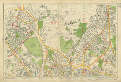 FINCHLEY/HENDON Mill Hill Golders Green Hyde Edgware Colindale. BACON 1934 map