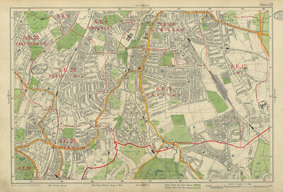 CATFORD Lee Brockley Lewisham East Dulwich Forest Hill Sydenham. BACON 1934 map