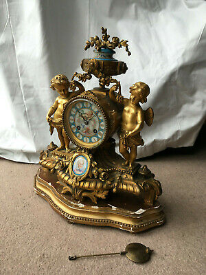 FAB ANTIQUE 19THC feres GILT BRONZE ORMOLU  FRENCH CHERUB PORCELAIN MANTEL CLOCK