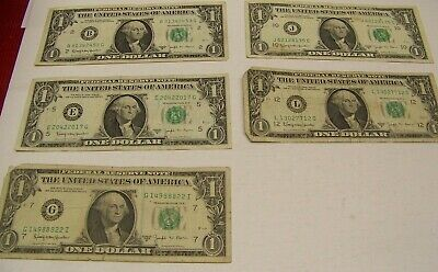 1963 B Joseph W. Barr $1 Notes - CIRCULATED  5 note lot - All Different Banks