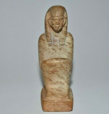 ANCIENT EGYPT ANTIQUE Egyptian STONE STATUE OF A KNEELING FIGURE.