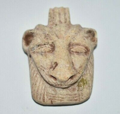 ANCIENT EGYPT ANTIQUE Egyptian STONE face of Sekhmet amulet