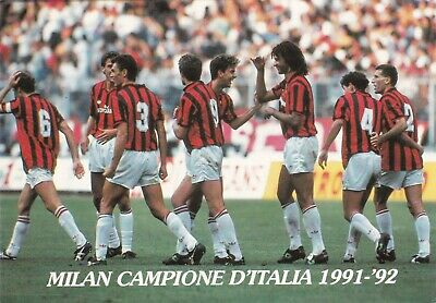 Calcio/Football Cartolina sq. MILAN Campione d'Italia 1991-'92 originale