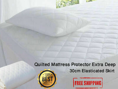 Extra Deep Quilted Mattress Protector Fitted Bed Cover All Sizes