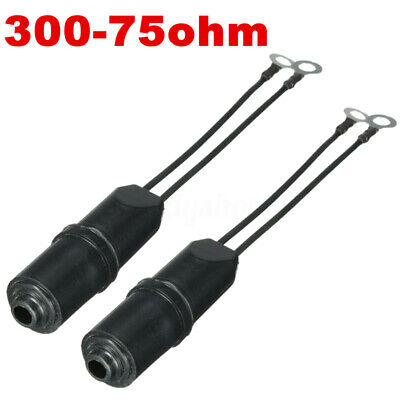 2x Outdoor Antenna 300 To 75 Ohm Coaxial Cable Matching Transformer  ^