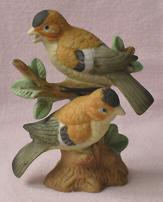 Two Yellow Golden Brown Black Forehead Birds On Tree Stump Branch Ornament