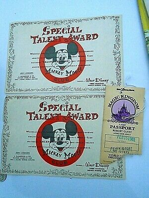 (2) 1981 Special Talent Awards Walt Disney Sponsor TWA + Park pass