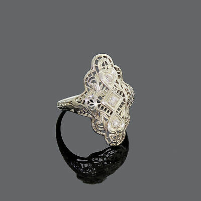 Vintage Art deco 18k White Gold Filigree Diamond Ring Size 5.50 Great Deal!