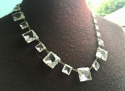 Stunning antique Art Deco large crystal Platinom Riviera necklace c1920s