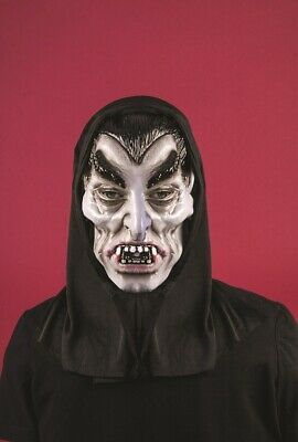Adult Mens Scary Black Hooded Count Dracula Vampire Halloween Mask Latex Horror
