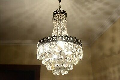 Antique Vintage French Basket Crystal Chandelier Brass Ceiling Lamp 14'' DIAMETR